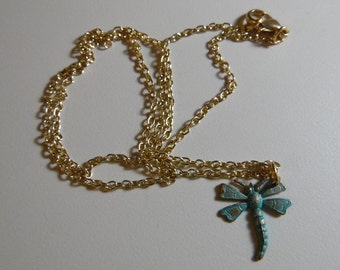 "Seaform Green and Gold Dragon Fly Necklace with a 26"" Gold Chain"