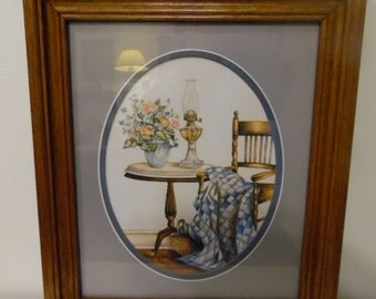 Framco Wall Art of Chair, Marble Top Round Table with Oil Lamp and Cut Flowers by Kay Lamb Shannon - Homco Orginal - Dallas Woodcraft