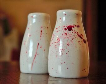 Blood Splatter, Horror, Horror Decor, Salt and Pepper Shaker Set