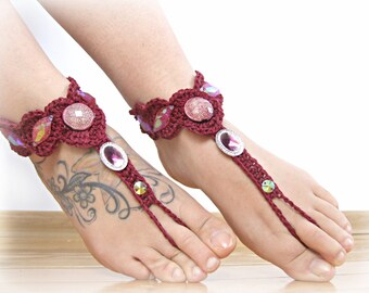Bordeaux Barefoot Sandals- Foot Jewelry- Footless Sandals- Barefoot Wedding Sandal- Boho Wedding- Bridesmaid gift- Valentine's Gift