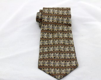 Vintage Men's Brown Tribal Silk Tie/ Retro Brown Beige Silk Necktie
