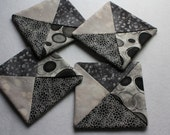 Folded Fabric Coasters ; Mug Rugs ; Candle Mats ; Gray Coasters ; Home Décor ; Little Quilts ; Four Coasters ; Coaster Set