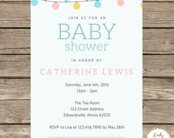 Baby Shower Invite - Pastel Baby Shower Invite - String Lights Baby Shower Invite - Gender Neutral Baby Invite - Shower Invite - Party