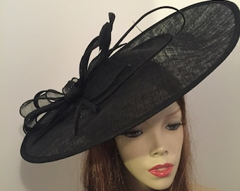 Fascinator Hat Big BLACK Saucer Hatinator headpiece on hairband, perfect for the races or a wedding