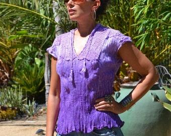 Vtg 70's India NWOT Deadstock Boho Ombre purple sheer THIN crinkle cotton gauze macrame silver metallic lurex tunic top blouse sz S//L