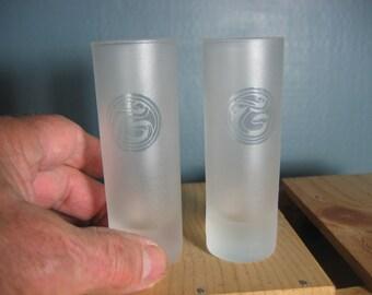 2 Vtg. Shot Glasses - Advertising Tanqueray - Souvenir Shot Glass - Gin Taquila Vodka