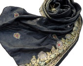 Black Pure Silk Scarf, Beaded Embroidered Floral Paisley Shawl, Long Silk Scarves, Indian Sari Saree Wrap Victorian Shawls Goth Floral