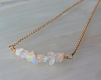 Raw Opal Necklace - Opal Bar Necklace - Opal/Silver/Gold Minimalist Necklace, Ethiopian Welo Opal/ October Birthstone, Gift Ideas, Wife Gift