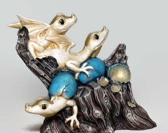 Ceramic Dragon Hatchling Figurine White Gold