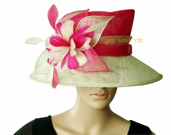 Hot pink beige sinamay hat church hat w/feather flower for Kentucky derby,wedding races
