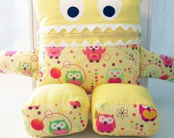 Sun Shiny Yellow with Owls Pajama Eater