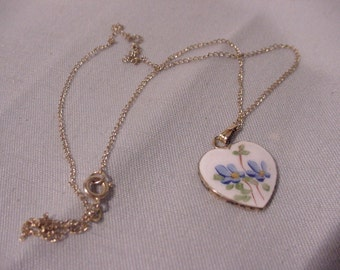 Reduced! Charming Enameled Heart Necklace Sterling Silver Gold Filled Chain