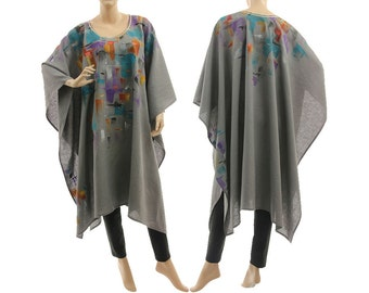 Boho linen poncho cape in grey, handpainted grey linen poncho, summer party poncho / lagenlook small to plus size S-XXL, US size 6 up to 22
