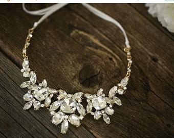 SALE - Bold Crystal Necklace - Wedding Jewelry - Gold Bridal Necklace - Bib Crystal Statement Necklace, Bridal Jewelry - Fenna