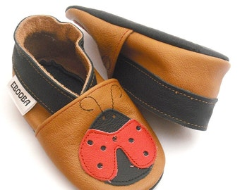 soft sole baby shoes infant kids children ladybird brown red    12-18m ebooba 10-3