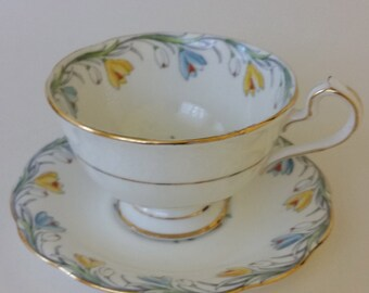 Bell Teacup and Saucer Snowdrops Pattern