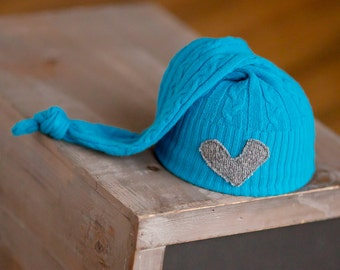 Newborn Boy Hat, Upcycled Newborn Hat, Blue Newborn Hat with Heart, Newborn Photography Prop, Newborn Boy Prop, Newborn Hats, Knot Hat, RTS