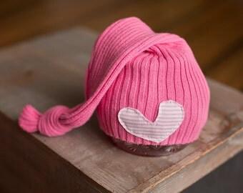 Pink Newborn Hat, Upcycled Newborn Hat, Newborn Girl Hat, Newborn Sleep Cap, Heart Hat, Newborn Photography Prop, Valentine's Day Hat, RTS