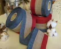 "Rustic Patriotic Wired Ribbon, 2.5"" Craft Ribbon, 5 yds Striped Americana Ribbon"
