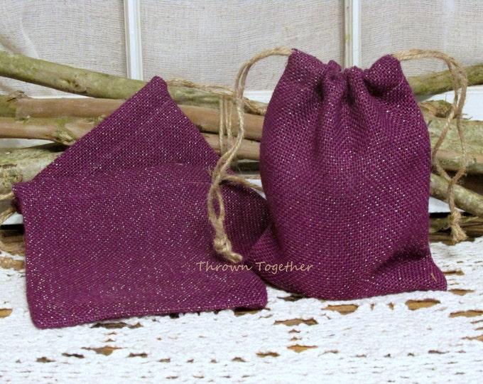 Handmade Burlap Bags, Purple Plum Gold Sparkle Burlap Bag, Wedding Favors, Rustic Bags, Burlap Christmas Gift Bag, Set of 5 Rustic Gift Bags