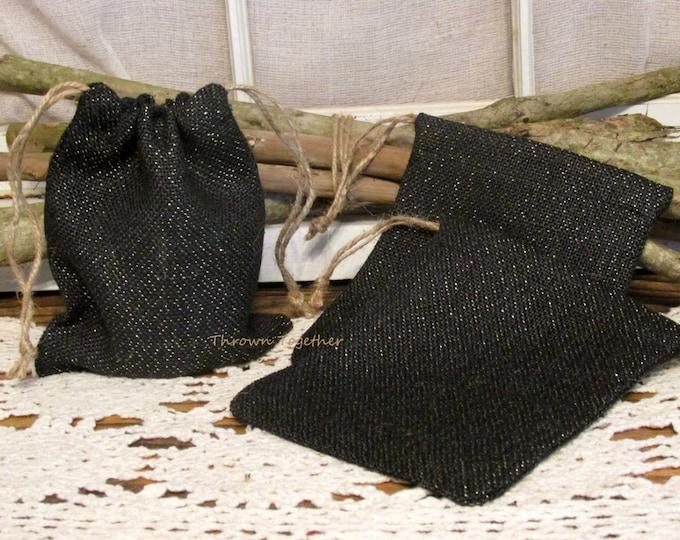 Handmade Burlap Bags, Black Gold Sparkle Burlap Bag, Wedding Favors, Rustic Favor Bag, Burlap Christmas Gift Bags, Set of 5 Rustic Gift Bags