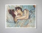 Au Lit - Le Basier by Henri de Toulouse Lautrec, 1892 -  Poster Paper, Sticker or Canvas Print / Gift Idea