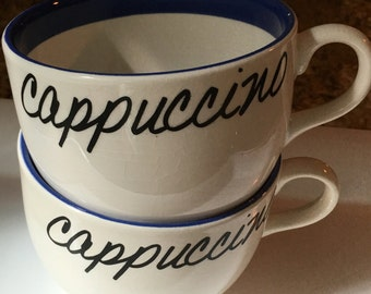 Vintage, Blue and White, Extra Large, Cappuccino Mugs, Coffee Mugs