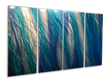 Metal Wall Art Aluminum Decor Abstract Contemporary Modern Sculpture Hanging Zen Textured - Reef Blue 36x63