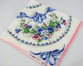 Vintage Hankie, White Background With Pink and Blue, Great For Crafting Sewing, Framing Lot T12