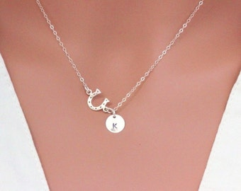 Good Luck Necklace, Lucky Horseshoe, Good Luck Gift, Clover Necklace, Lucky Clover pendant, Lucky Gift, Good Luck Jewelry, Shamrock Necklace