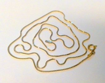 """Vintage 24"""" Gold Box Chain Sterling Silver Made in Italy Necklace"""
