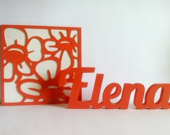 Name set and wooden sign personalized