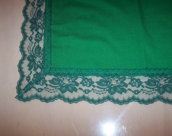 "One Green 22"" x 22"" Square Table Runner, Doily, Gift, Collecting, Crafts, Framing, Projects, Mid century, DISCOUNT for  MULTIPLE Items"