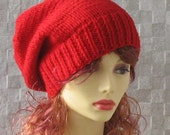 Red Slouchy Beanie Womens Slouchy Hat Hand Knit Hat  Slouchy Beanie Spring Accessories