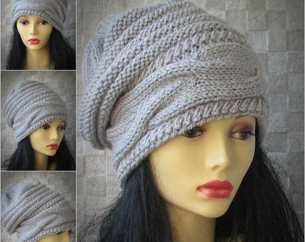 Oversized Slouchy Hat, Slouch Beanie, Cable Hat, Beanie, Grey Woman Beret, Winter Hat, Women Slouchy Hat, Chunky Knit Hat