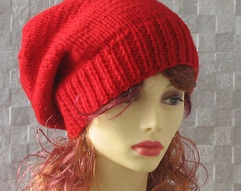 Red Slouchy Beanie Womens Winter Hat Hand Knit Oversized Hat  Slouchy Beanies Vegan Accessories