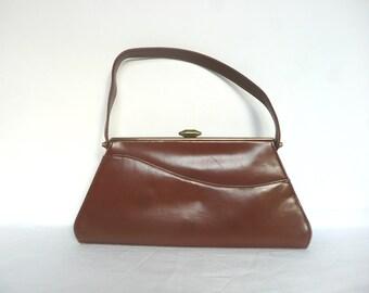 Vintage Waldybag purse - vintage Waldybag handbag - Waldybag kelly bag and purse - tan leather Waldybag - vintage kelly bag