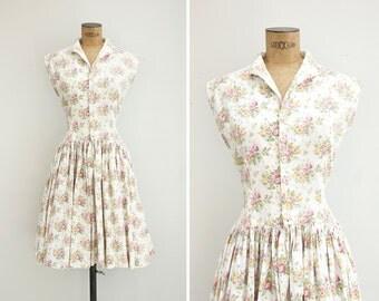 1950s Dress - Vintage 50s White Cotton Floral Dress - Le Bouquet Dress