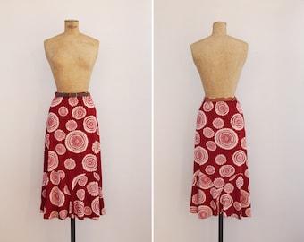 1970s Skirt - Vintage 70s Burgundy Tie Dye Skirt - Los Caños Skirt
