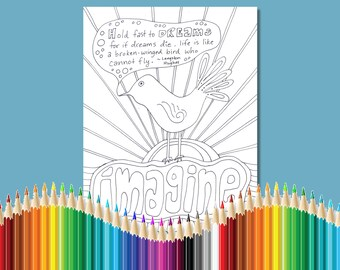 Coloring Pages for Adults Dream Bird Langston Hughes Quote Dream Instant Download