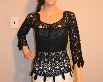Black Love Sight Hand Made Crochet Shirt / Size 0 to 20