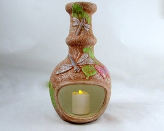 Ceramic Candle Dragonfly Chiminea and Garden Decoration-9 inches tall- hand painted, indoor, outdoor