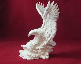 Ready to paint Fishing Eagle- 10 3/4 inches tall-  indoor, outdoor, lawn or garden, DIY