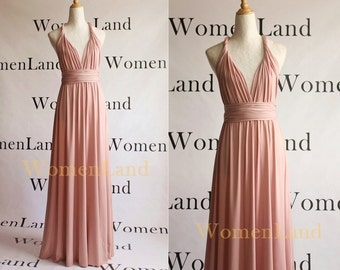 New Pale Blush Handmade Infinity Convertible Bridesmaid Dress Wedding Bridal Party Floor Length Evening Gown Tailor Made Women Long Dresses