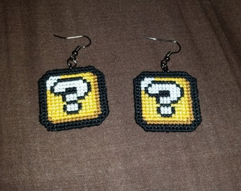 Mario Question Block Cross Stitched Earrings