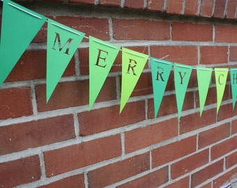 Merry Christmas Holiday Decoration -  Garland Banner Decor - Flag Pennant Banner Bunting - Ombre Green Shades