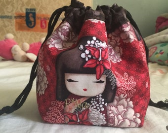 Kimmidoll kinchuka bag ( draw string ) red