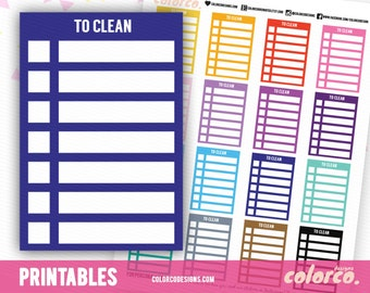 TO CLEAN Stackable Sidebar Checklists Printable Planner Stickers Erin Condren Happy Planner Inkwell Plum Paper Instant Digital Download