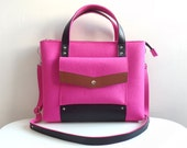 Pink Brown Black Wool Felt Genuine Leather Handbag Bag