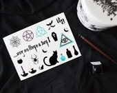Spooky, Witchy, Charmed Temporary Tattoo A5 Sheet